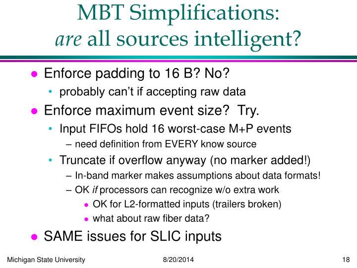 MBT Simplifications: