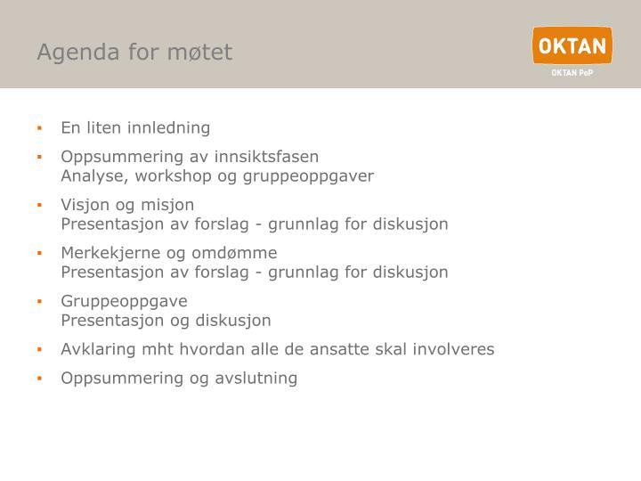 Agenda for møtet
