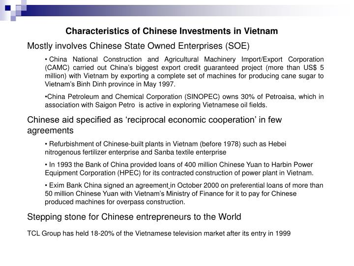 Characteristics of Chinese Investments in Vietnam