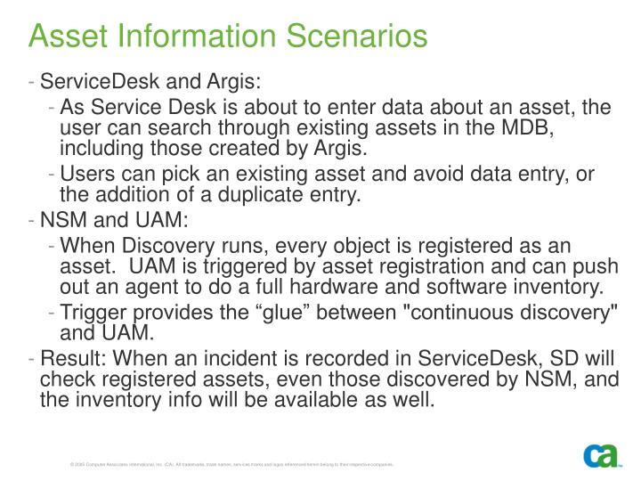 Asset Information Scenarios