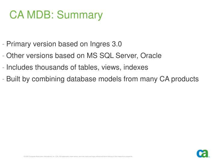CA MDB: Summary