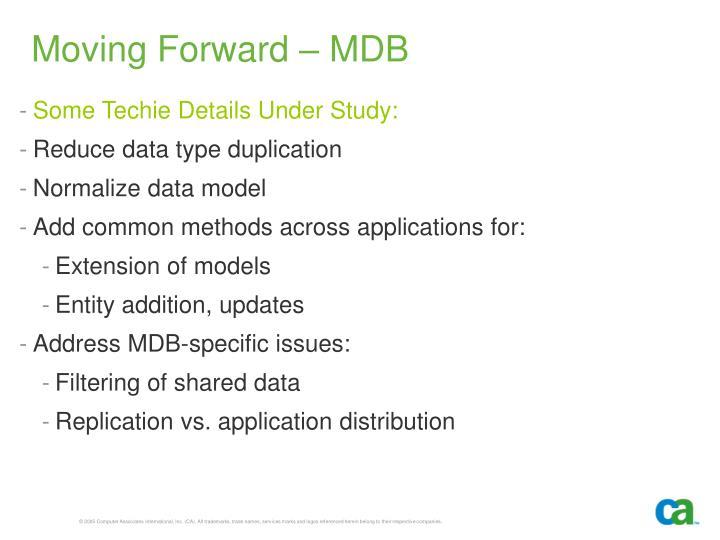 Moving Forward – MDB