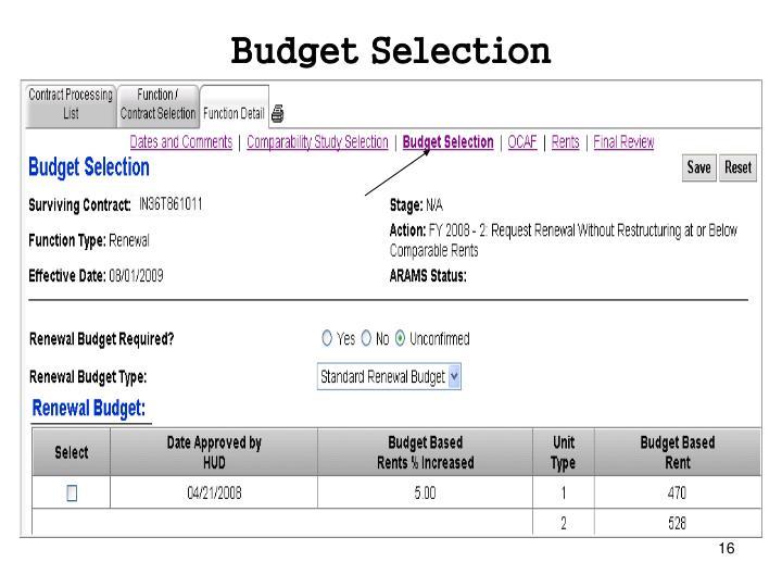 Budget Selection