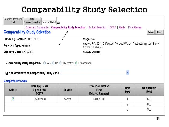 Comparability Study Selection