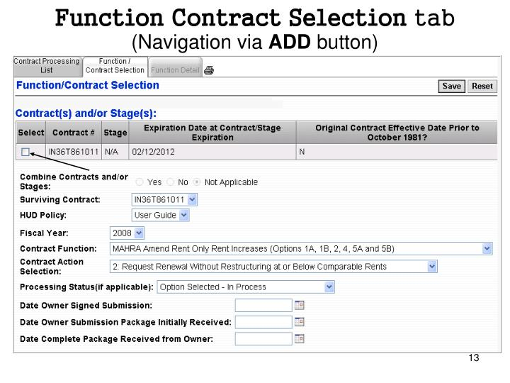 Function Contract Selection