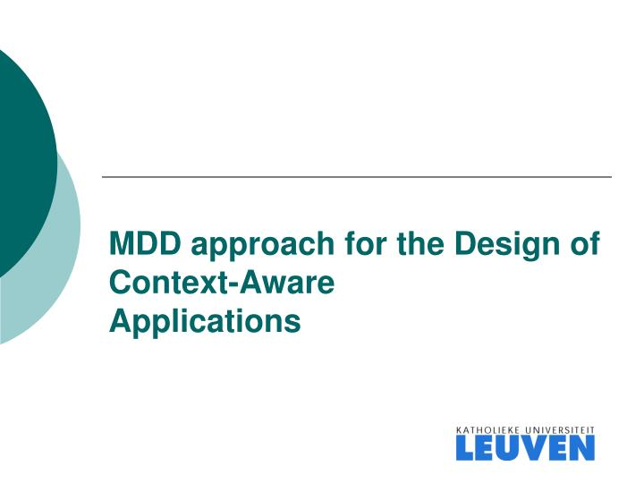 Mdd approach for the design of context aware applications