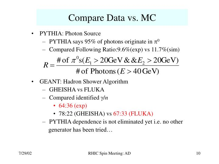 Compare Data vs. MC