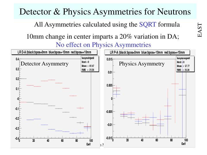 Detector & Physics Asymmetries for Neutrons