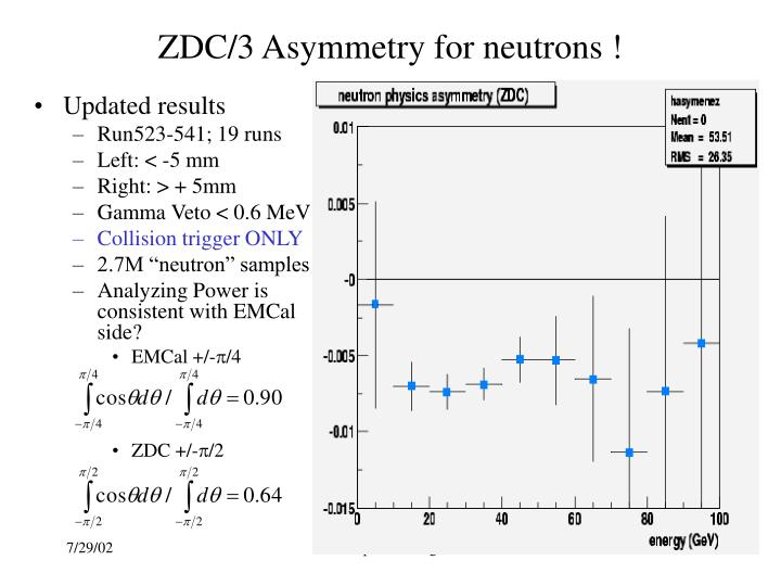 ZDC/3 Asymmetry for neutrons !
