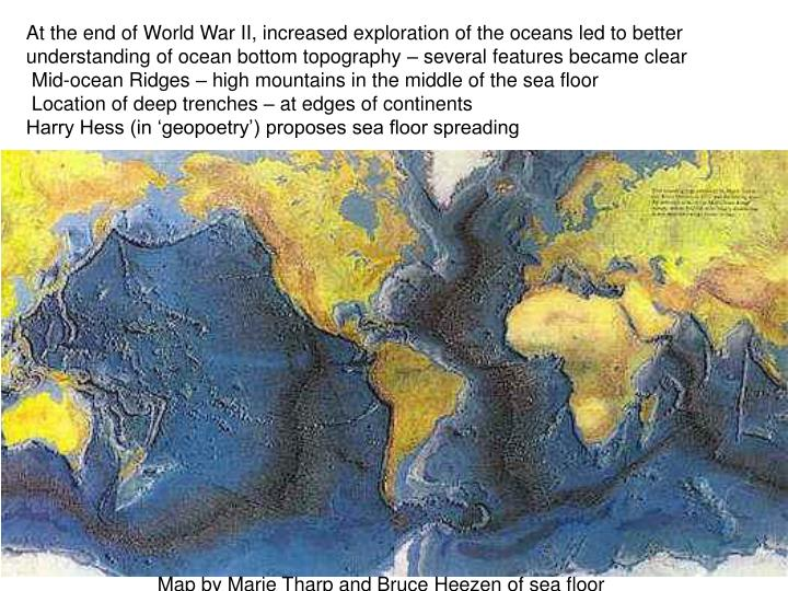 At the end of World War II, increased exploration of the oceans led to better understanding of ocean bottom topography – several features became clear