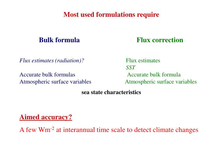 Most used formulations require