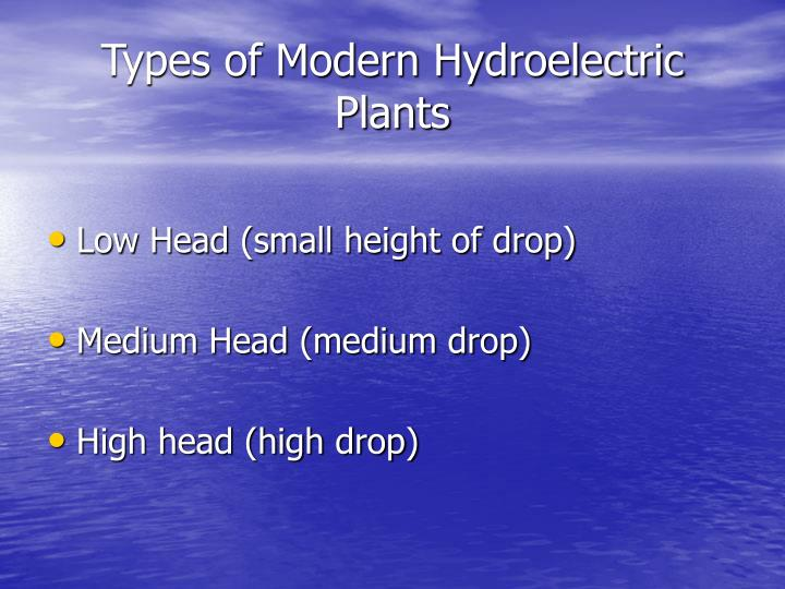 Types of Modern Hydroelectric Plants
