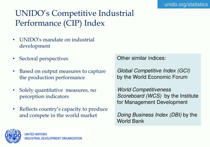 UNIDO's Competitive Industrial Performance (CIP) Index