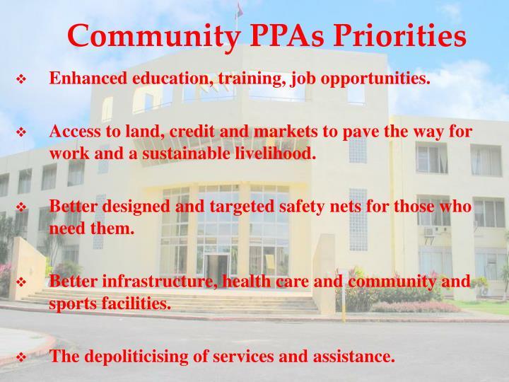 Community PPAs Priorities
