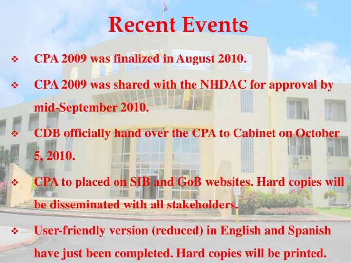 Recent Events