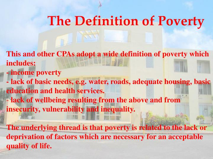 The Definition of Poverty