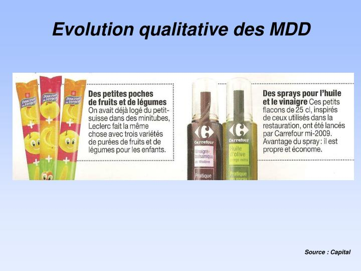 Evolution qualitative des MDD