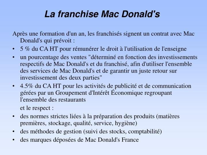 La franchise Mac Donald's