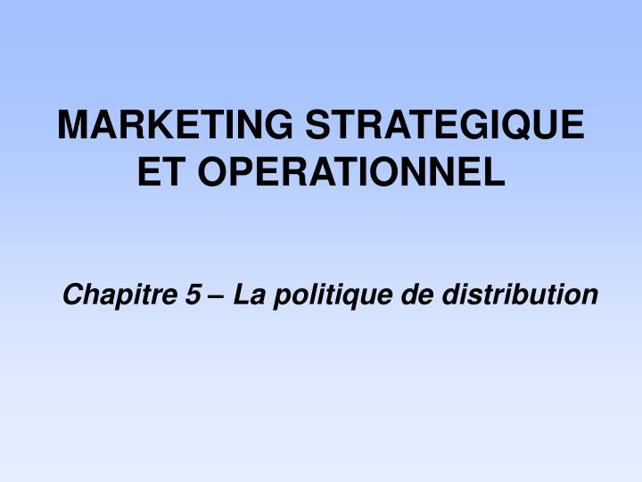 marketing strategique et operationnel