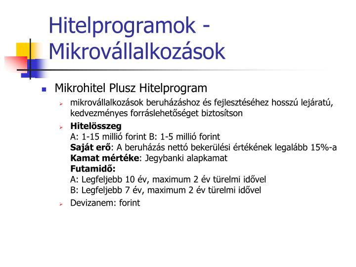 Hitelprogramok -