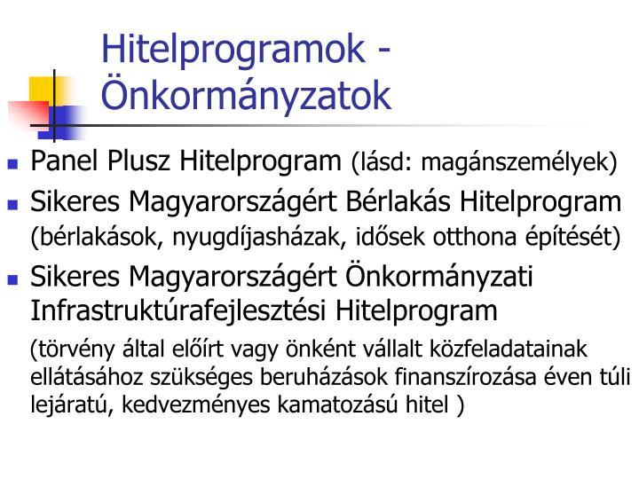 Hitelprogramok - Önkormányzatok
