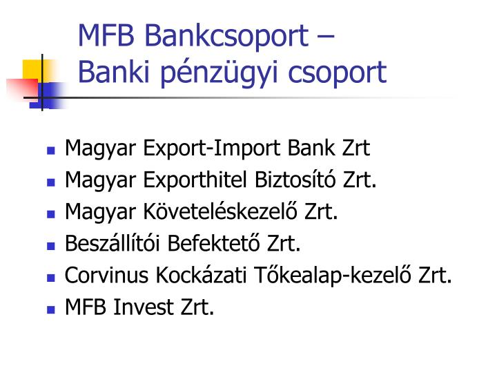 MFB Bankcsoport –