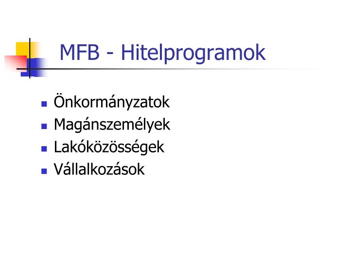 MFB - Hitelprogramok