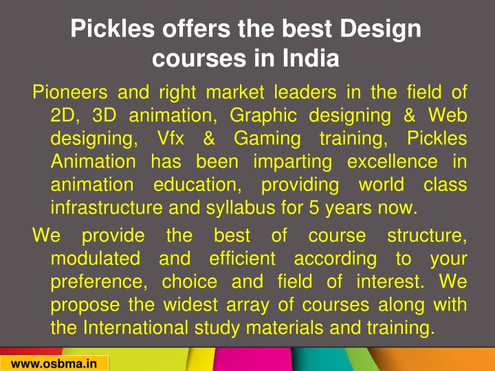Pickles offers the best design courses in india