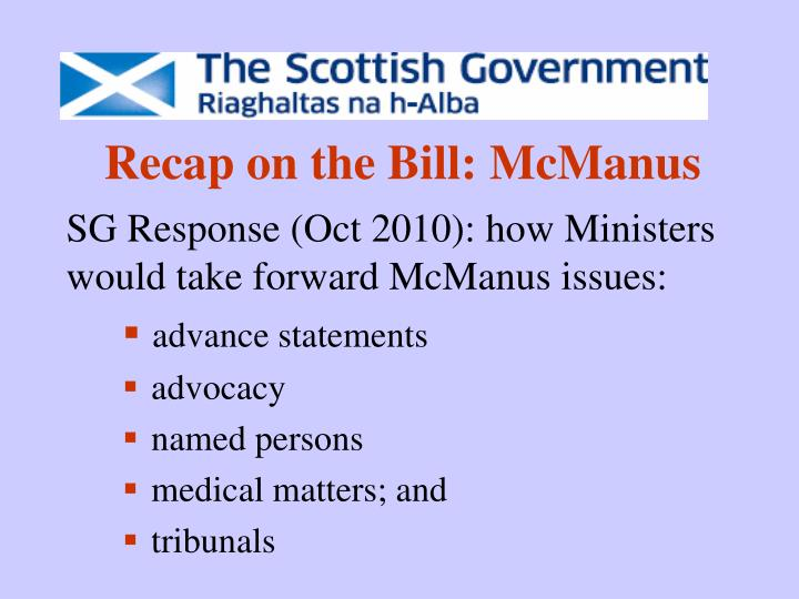 Recap on the bill mcmanus
