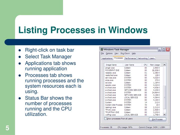 Listing Processes in Windows