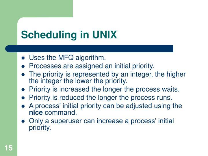 Scheduling in UNIX