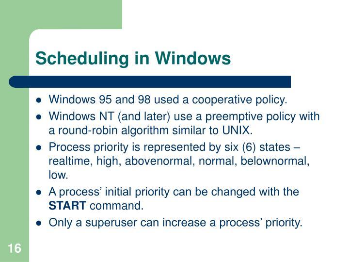Scheduling in Windows