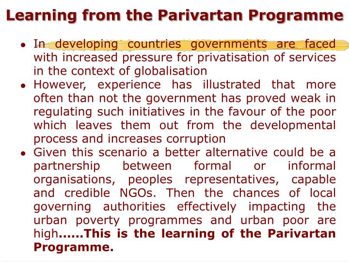 Learning from the Parivartan Programme