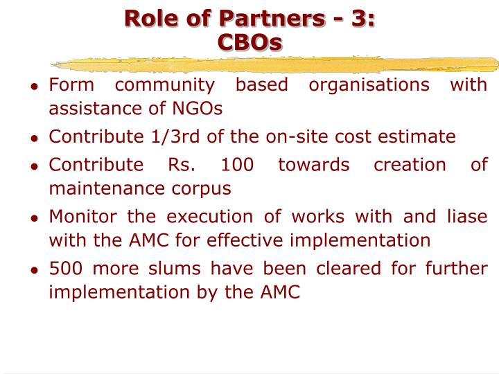 Role of Partners - 3: