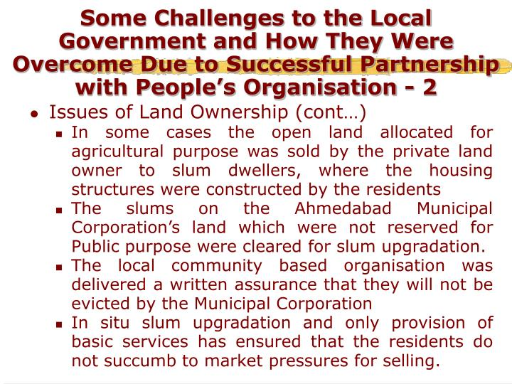 Some Challenges to the Local Government and How They Were Overcome Due to Successful Partnership with People's Organisation - 2