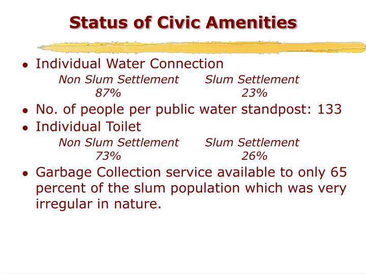 Status of Civic Amenities