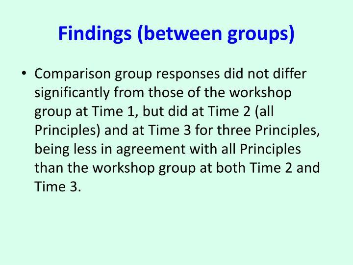 Findings (between groups)