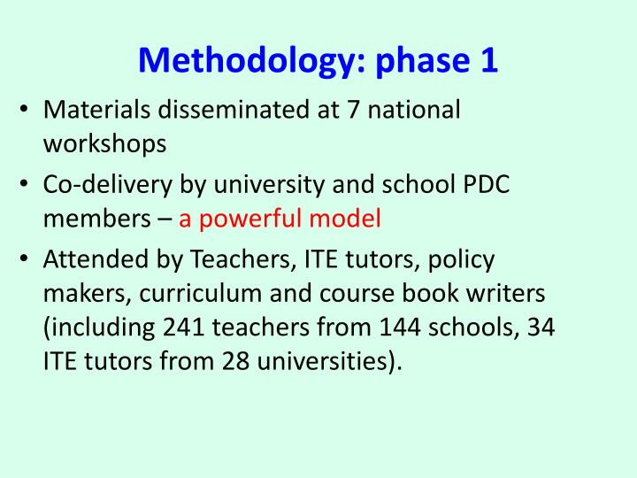 Methodology: phase 1