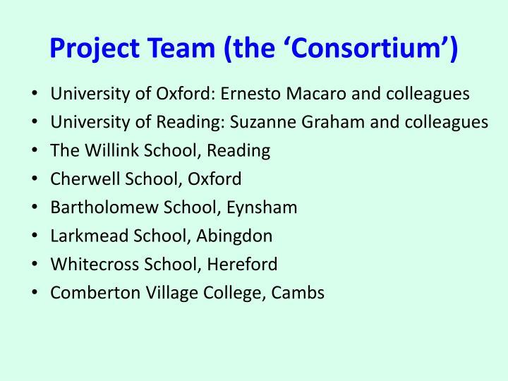 Project Team (the 'Consortium')