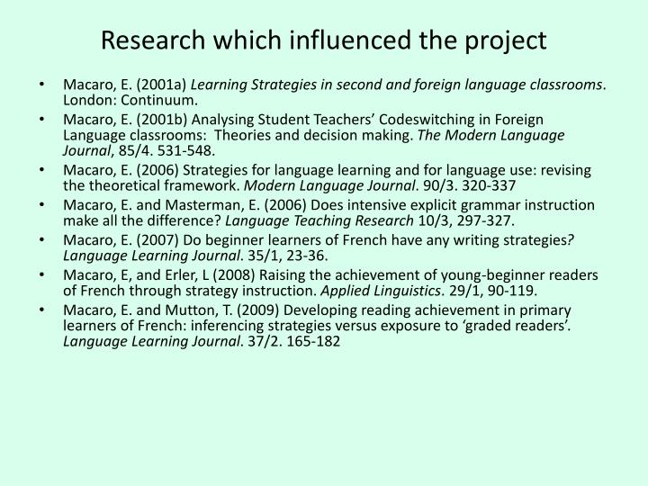 Research which influenced the project