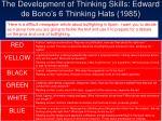 the development of thinking skills edward de bono s 6 thinking hats 1985
