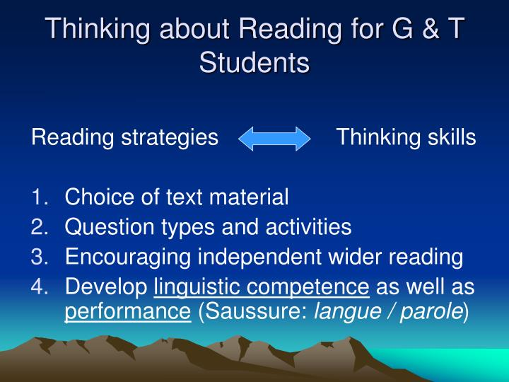 Thinking about Reading for G & T Students
