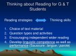thinking about reading for g t students