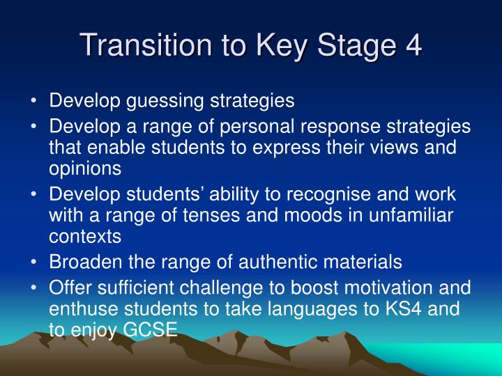Transition to Key Stage 4