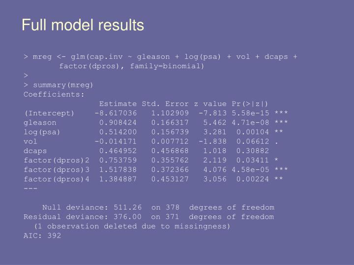 Full model results