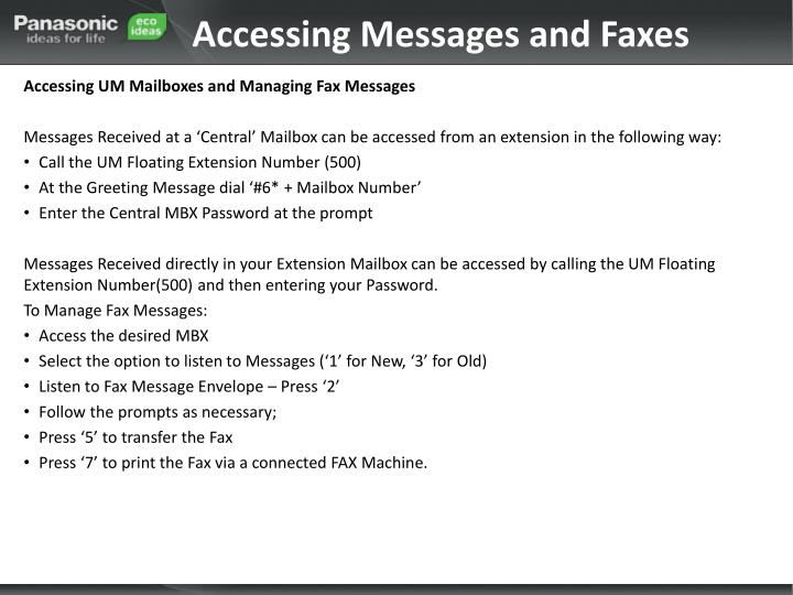 Accessing Messages and Faxes