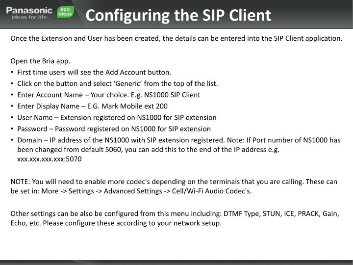 Configuring the SIP Client