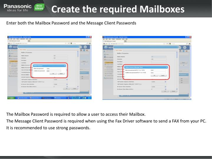 Create the required Mailboxes