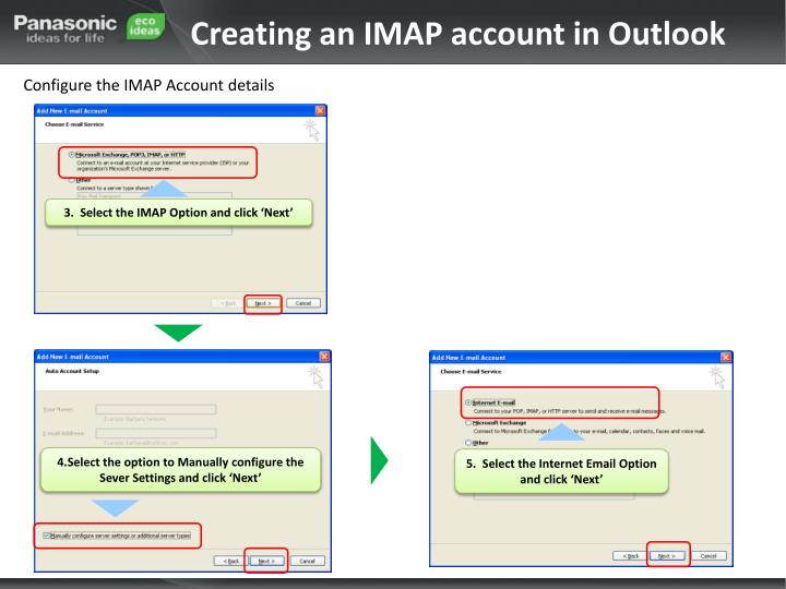 Creating an IMAP account in Outlook