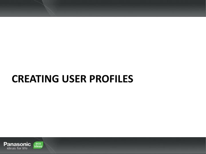 Creating user profiles